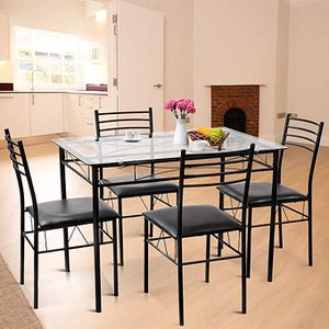 Tangkula Dining Table Set, 5 Pieces Dining Set with Tempered Glass Top Table and 4 Chairs, Kitchen Dining Room Furniture, Black for Sale in Bellevue, WA