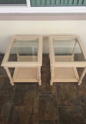 Real Wood Glass Top Wicker Bottom End Tables for Sale in Clearwater, FL