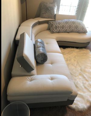 Brand new in box ( sectional sofa white +light grey sectional bonded leather for Sale in Lakewood, CA