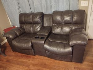 Leather couch good condition local free delivery giving second sofa for free serious buyer please for Sale in Modesto, CA