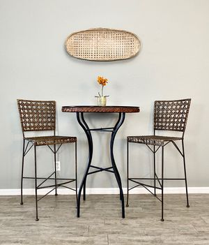 Iron and Rattan tasting table and barstools/ bar table set/ pub set for Sale in Cape Coral, FL