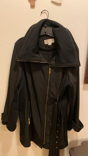 Michael by Michael Kors long coat with belt. Black with gold zipper. for Sale in Tacoma, WA