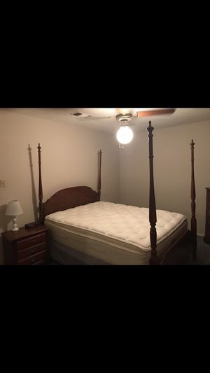 Full/Queen size bed frame, mattress not included. Nightstand and Dresser with Mirror for Sale in Huntsville, TX