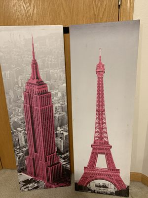 Eiffel Tower and Empire State Building Wall Canvases for Sale in Ankeny, IA