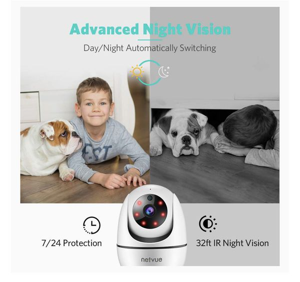 Dog Camera, Netvue 1080P FHD 2.4GHz WiFi Pet Camera , Indoor Security Camera for Pet/Baby/Nanny, AI Human Detection, Night Vision, Cloud Storage/TF C