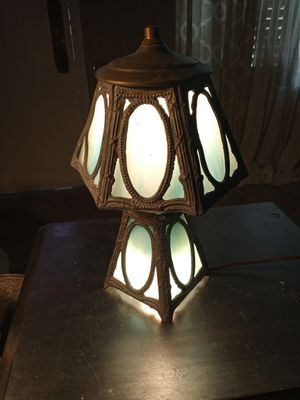 Antique green slag glass gilt lead pewter table lamp for Sale in Dayton, OH