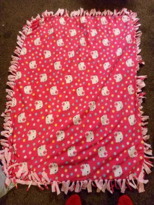 Fleece warm hello kitty knot tie blanket for Sale in Fresno, CA