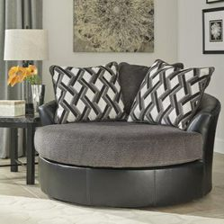 Kumasi Smoke Oversized Swivel Accent Chair with Pillows for Sale in Silver Spring,  MD