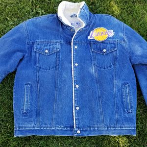 Vintage Milano Bay NBA Los Angeles Lakers Sherpa Lined Denim Jean Jacket Mens XL for Sale in Nampa, ID