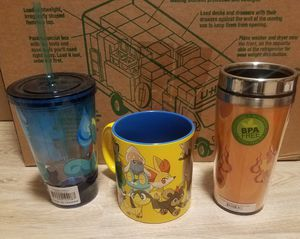 Rare Pokemon Charmander Travel Mug, Pokemon Group Relief Molded Ceramic Mug and Squirtle Acrylic Carnival Cup (all brand new, never been used) for Sale in San Francisco, CA