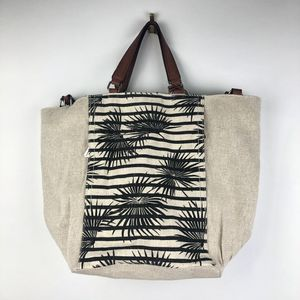 New Tommy Bahama Khaki Palm Fan Canvas Leather Beach Bag Reversible for Sale in Largo, FL