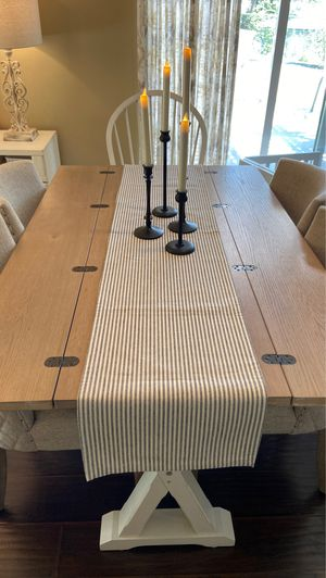 NEW 100% COTTON SOFT BLACK & IVORY PIN STRIPE TABLE RUNNER for Sale in Thousand Oaks, CA
