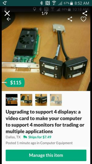 Upgrading to support 4 displays: a video card to make your computer to support 4 monitors for trading or multiple applications for Sale in Dallas, TX