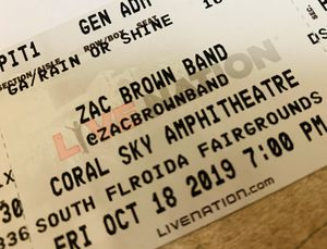 2 PIT TICKETS TO ZAC BROWN FRIDAY OCT 18th WEST PALM for Sale in Hillsboro Beach, FL