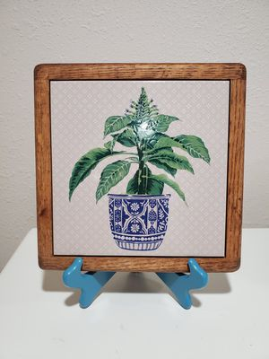 Square Tile Wood Framed Wall Decor Flowers Vase for Sale in Elma, WA