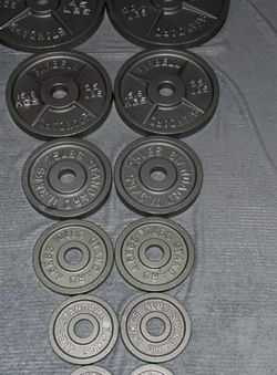 Olympic weight plates (2x45Lbs,2x35Lbs, 2x25Lbs, 2x10Lbs, 2x5Lbs, 2x2.5Lbs) for $460 Firm on Price for Sale in Lakewood,  CA