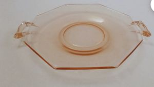 Vintage Plate, Pink Depression Glass Small Serving Plate, Octagonal Pink Glass Plate with 2 Handles for Sale in Wyoming, MI