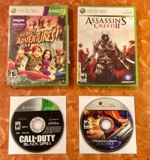 4 Xbox 360 Games - Kinect Adventure- Assassin's Creed 2 - Call of Duty Black Ops 2 - Prefect Dark Zero $30 for Sale in Moreno Valley, CA