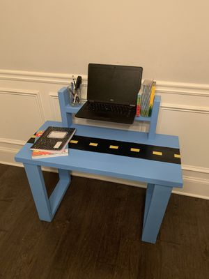 Solid wood Farmhouse style kid / child desk / table and chair set - Blue and Black Race car theme for Sale in Snellville, GA
