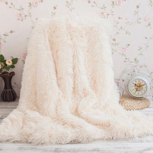 Luxury faux fur 2 ply blanket long hair shaggy fleece super king size