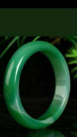 65mm Pretty certified natural green agate jade bangle for Sale in El Sobrante, CA