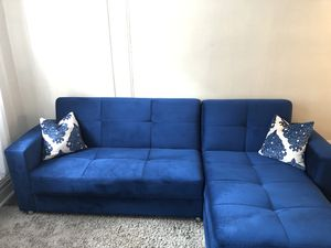 Royal blue microfiber sleeper sectional for Sale in Knightdale, NC