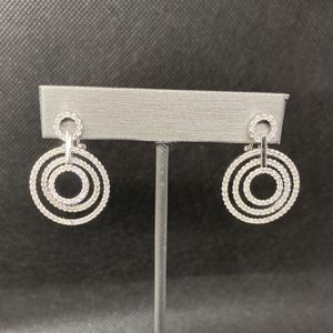18k White Gold Diamond Circle Earrings for Sale in Boynton Beach, FL