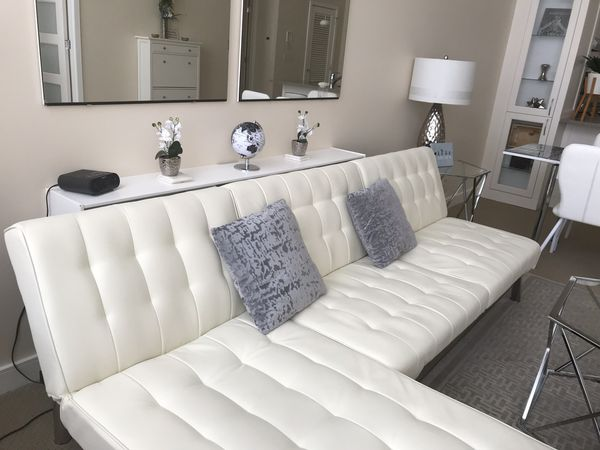 White and silver vegan leather futon set with chaise