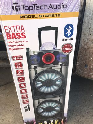 TOP TECH AUDIO MODEL:STAR212 6,000 watts Extra Bass Bluetooth Speaker With remote/Microphone Brand New for Sale in Burbank, IL