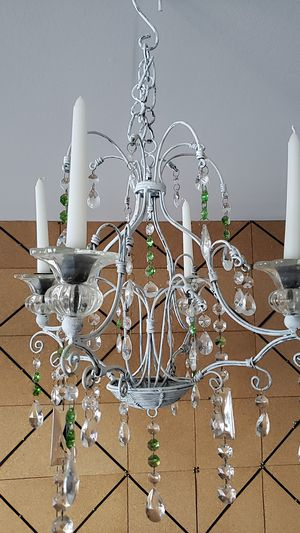 3 Antique Chandeliers -Green & Clear Crystal - 2 Wall & 1 Center for Sale in Third Lake, IL