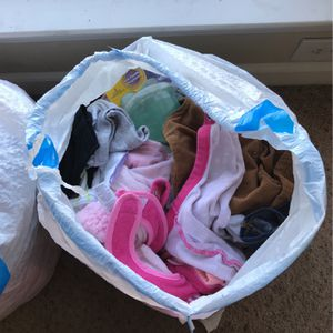 Two Bags Worth Of Girl Baby Clothes From 0-6 Months Along With A Pair Of Never Used Air Force 1's Size 2c for Sale in College Park, GA