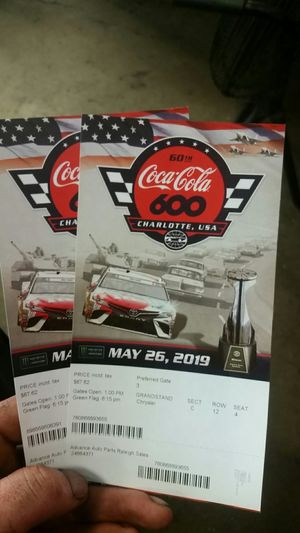 Tickets to coco cola 600 for Sale in Roanoke, VA