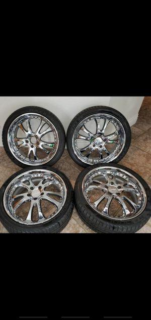 Chrome Lowenhart BR5 3 piece wheels 19x8 5x114.3 for Sale in Henderson, NV