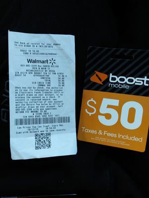 $50 Boost Reload Card for Sale in Nicholasville, KY