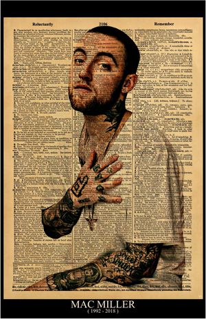 "Mac Miller print / Poster size 11""x17"" Vintage Dictionary style on a page with the words ""REMEMBER"" & ""REMARKABLE"" for Sale in Hesperia, CA"