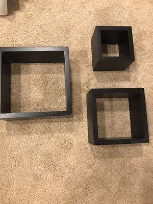 Square black hanging wall decor shelves for Sale in West Laurel, MD