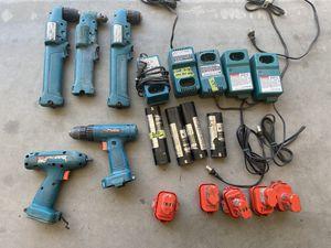 Makita 3 drills 1 reg drill 1 3/8 driver 5 chargers 9 batts for Sale in San Tan Valley, AZ