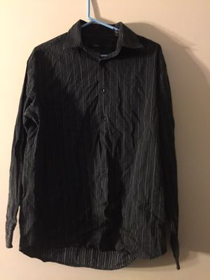 Alfani Mens Medium Long Sleeve Button Down Cotton Short Black with White Lines for Sale in Joint Base Pearl Harbor-Hickam, HI