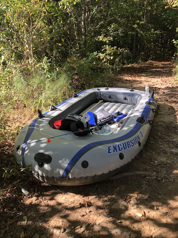 Inter Excursion 4 Inflatable Fishing Boat w/ electric pump. Floats great but has a slow leak near front. Will hold air for over an hour and a half be