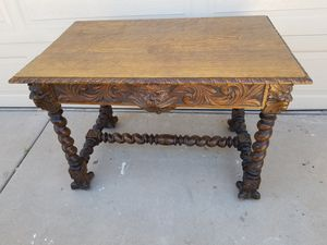 Antique Victorian Green Man carved desk with drawer for Sale in Phoenix, AZ