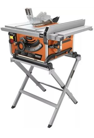 RIDGID 10 in. Compact Table Saw, With Carbide Tipped Blade, & Folding X-Stand for Sale in St. Petersburg, FL