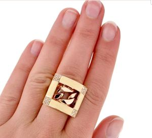 Estate 0.40cts Diamond Enamel 18K Rose Gold Chain Link Ring 21.9 Grams for Sale in West Los Angeles, CA