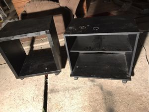 2 black stands/shelves with wheels for Sale in Houston, TX