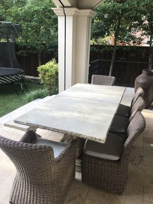 Outdoor Furniture dining table, chairs & bench 7 pc. for Sale in Dallas, TX