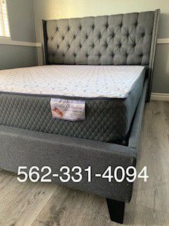 👉 New Full Gray Tufted Bed With Mattress Included 👈 for Sale in Kingsburg, CA