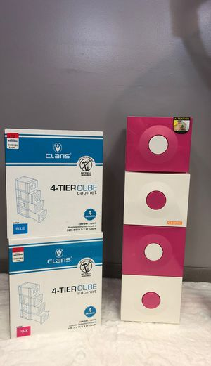 4 Drawer Plastic Cubes — Matching Pair- Pink and Blue for Sale in Lemont, IL