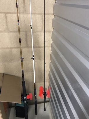 two Ugly stick fishing rods| One Abu fishing rod Three fishing rods for $40 ,No Reel, rods only, one for tuna fishing, two for bass fishing for Sale in Ontario, CA