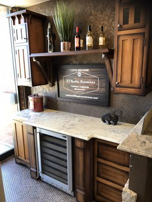 """Displays sale custom bar with monogram wine cooler White rift oak insert door 84 """"wide with countertop call kJ custom cabinets {contact info removed} for Sale in Addison, IL"""