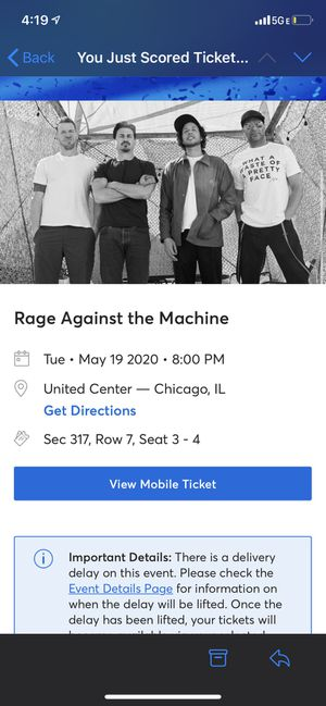 Rage Against The Machine - 2 seats : May 19th for Sale in Chicago, IL