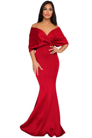 Red Off The Shoulder Mermaid Maxi Dress Size 4-6 and Size 8-10 for Sale in Dallas, TX